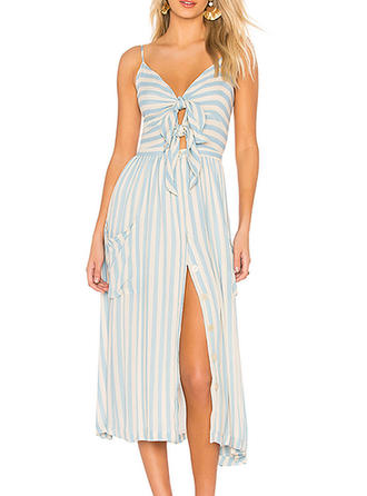 Striped Sleeveless A-line Midi Casual/Vacation Dresses