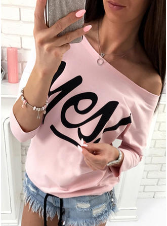 Print One-Shoulder Long Sleeves Casual Knit T-shirts