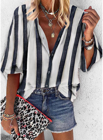 Striped V-Neck 3/4 Sleeves Casual Shirt Blouses