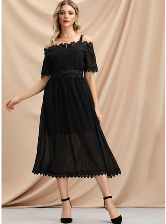 Lace/Solid Short Sleeves A-line Midi Little Black/Casual/Vacation Dresses