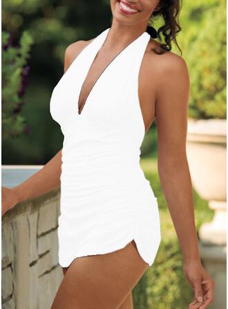 Solid Color V-Neck Strapless Sexy Retro Swimdresses Swimsuits