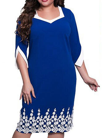 Lace/Floral 3/4 Sleeves Bodycon Knee Length Casual/Elegant/Plus Size Dresses