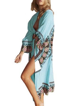 Floral Colorful V-neck Cover-up Swimsuit