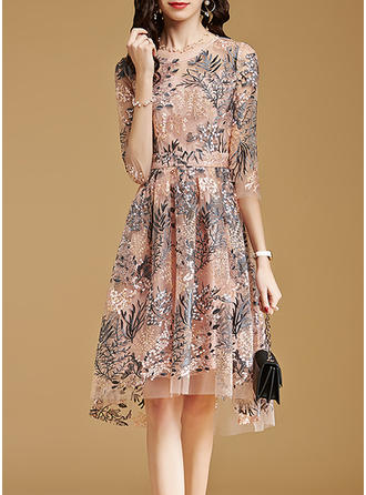Embroidery Round Neck Knee Length A-line Dress