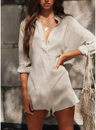 Solid Shirt collar Long Sleeves Casual Romper