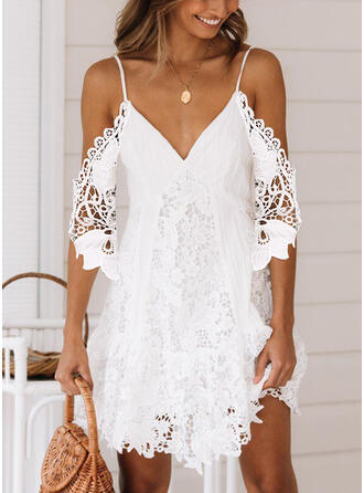Lace/Solid 1/2 Sleeves/Cold Shoulder Sleeve Shift Above Knee Sexy/Casual/Vacation Tunic Dresses