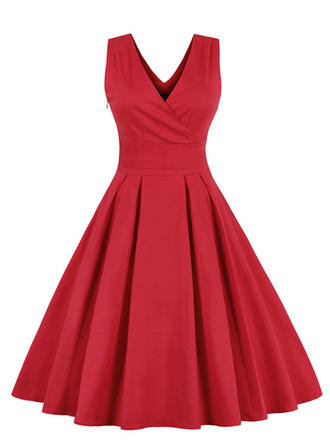 Solid V-neck Knee Length A-line Dress