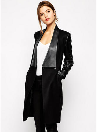 Polyester Long Sleeves Patchwork Blend Coats