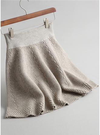 Tricotage Couleur unie Au-dessus du genou Jupes trapèze