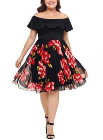 Print/Floral Short Sleeves A-line Knee Length Party/Plus Size Dresses