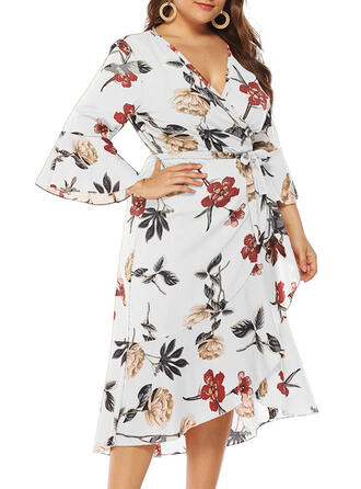 Print/Floral Long Sleeves/Flare Sleeves A-line Casual/Plus Size Midi Dresses