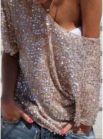 Sequins One-Shoulder 1/2 Sleeves Casual Blouses