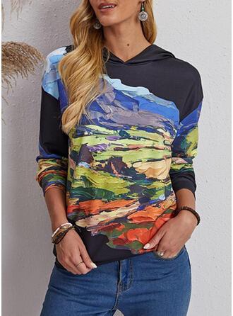 Print Hooded Long Sleeves Sweatshirt