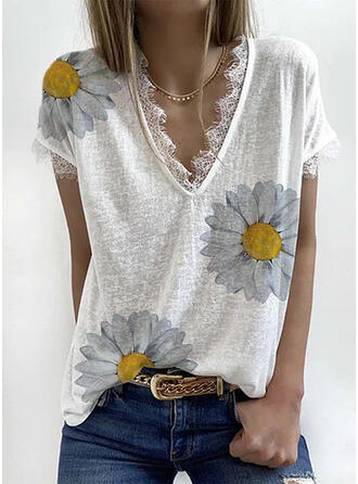 Print Floral Lace V-Neck Short Sleeves Casual T-shirts
