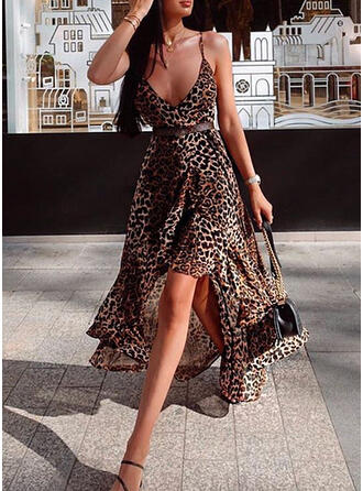 Leopard Sleeveless A-line Asymmetrical Sexy/Party/Vacation Dresses