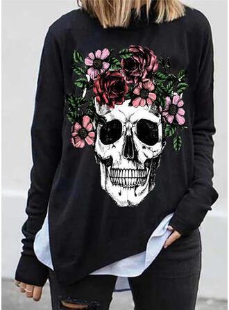 Print Blomster Halloween rund hals Lange ærmer Sweatshirts