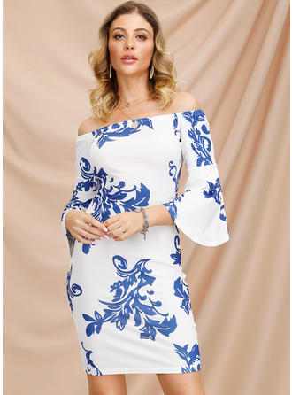 Print 3/4 Sleeves/Flare Sleeves Bodycon Above Knee Casual/Elegant Dresses