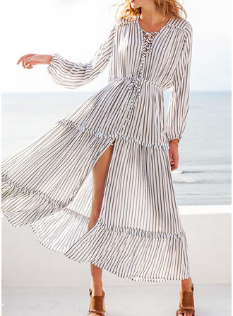 Striped Long Sleeves A-line Maxi Casual/Vacation Dresses
