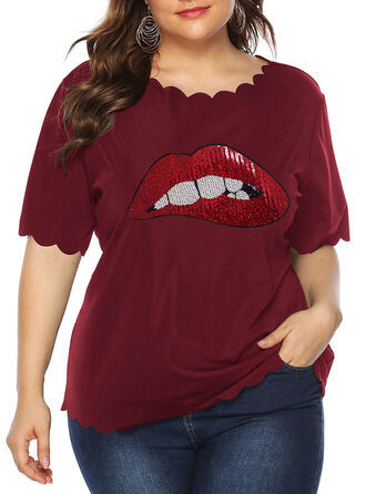 Print Round Neck Short Sleeves Casual Plus Size T-shirts