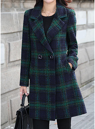 Woolen Long Sleeves Grid Woolen Coats