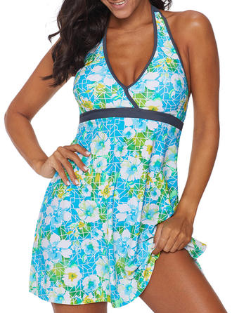 Tropical Print V-neck Cute Swimdresses Swimsuits
