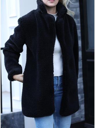 Webpelz Lange Ärmel Einfarbig Mantel aus Gewebemischung