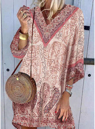 Print/Floral 3/4 Sleeves Shift Above Knee Casual/Boho/Vacation Tunic Dresses