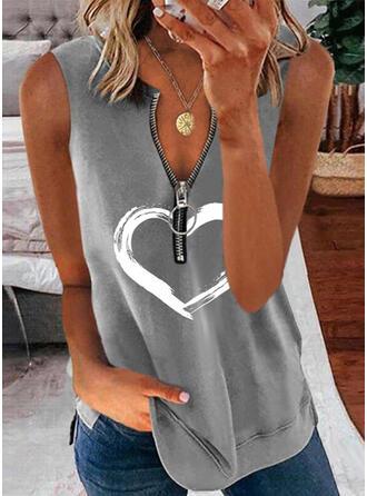 Serce Nadruk Dekolt w kształcie litery V Bez Rękawów Koszulki bez rękawów