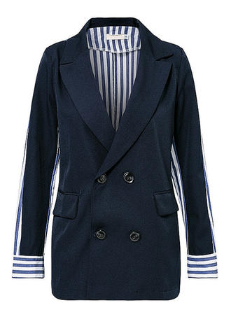 Blends Long Sleeves Striped Blazers