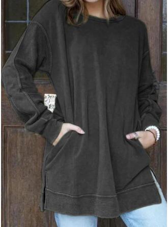Solid Lommer rund hals Lange ærmer Sweatshirts
