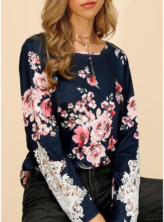 Impresión Floral Encaje Cuello redondo Manga Larga Casual Blusas
