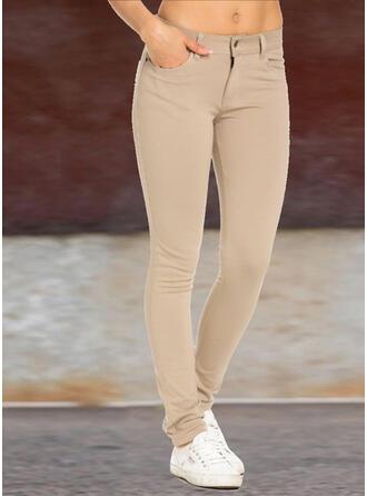 Couleur Unie Froncé Grande taille Longue Élégante Sexy Plaine Pantalon