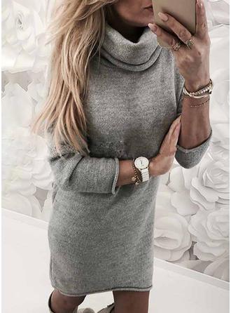 Solidny Długie rękawy Koktajlowa Nad kolanem Swetry/Nieformalny Sukienki