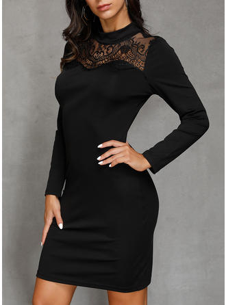 Lace/Solid Long Sleeves Sheath Above Knee Little Black/Party Dresses