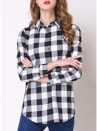 Cotton Blends Lapel Print Long Sleeves Button Up Blouses