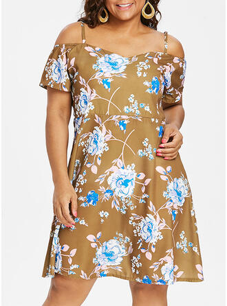 Print/Floral Short Sleeves A-line Knee Length Casual/Plus Size Dresses