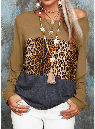 Color Block Leopard Round Neck Long Sleeves Casual T-shirts (1003261406)