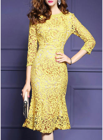 Lace Solid Round Neck Knee Length Sheath Dress