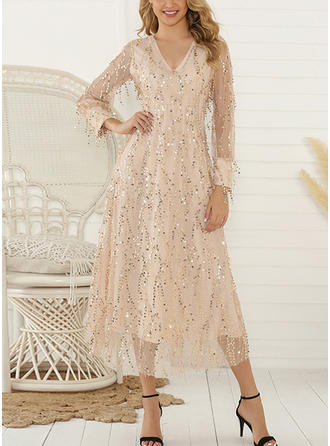 Sequins Long Sleeves Shift Midi Casual/Party Dresses