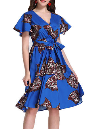 Print Short Sleeves A-line Knee Length Vintage/Casual Dresses