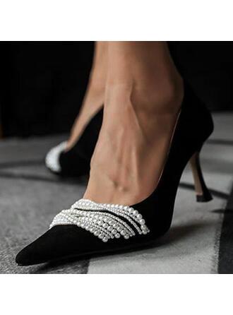 Γυναίκες PU Μεσαία παπούτσια τακουνιών Γοβάκια Με Απομιμήσεις Pearl παπούτσια