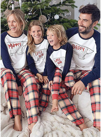 Bear Striped Print Matching Family Christmas Pajamas