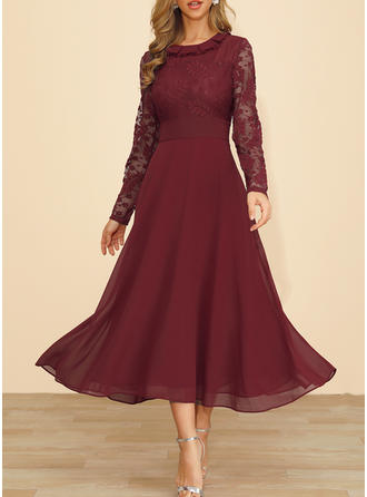 Lace Long Sleeves A-line Maxi Casual Dresses