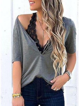 Einfarbig V-Ausschnitt Kurze Ärmel Mit Knöpfen Freizeit Basic Blusen