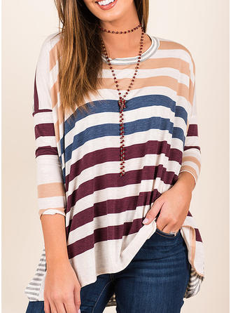 Polyester Round Neck Striped 1/2 Sleeves Casual Blouses