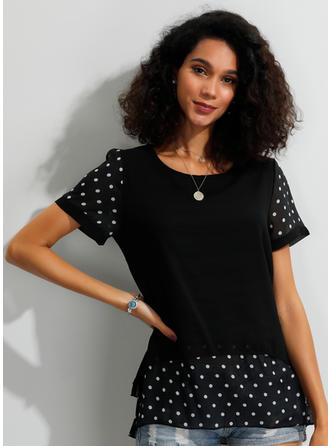 PolkaDot Round Neck Short Sleeves Casual Blouses