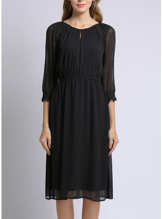 Solid 1/2 Sleeves A-line Knee Length Little Black/Casual Dresses