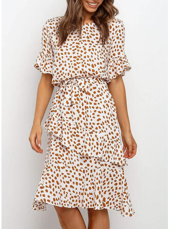 Print Short Sleeves/Flare Sleeves A-line Knee Length Casual Dresses