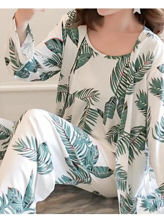 V-Ausschnitt Lange Ärmel Drucken Lässige Kleidung Top & Hosen Sets