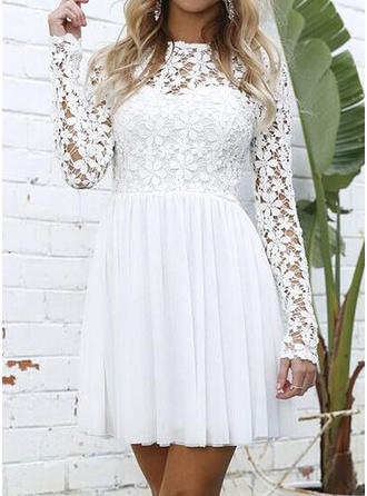 Lace Solid Round Neck Above Knee A-line Dress